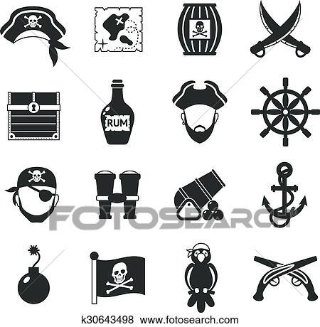 Pirate Icons Set Black Clip Art K30643498 Fotosearch