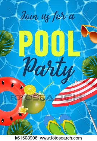 Pool party invitation vector illustration. Top view of swimming pool with  pool floats. Clip Art