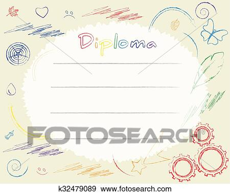 clip art preschool elementary school kids diploma certificate background design template drawn with
