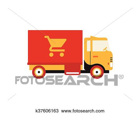 Red Retro Vintage Delivery Truck With Cart Icon Isolated On White Background Clipart