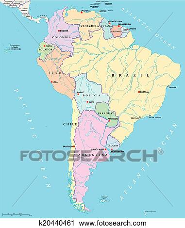 Political Map Of America States.South America Single States Map Iskarpa K20440461 Fotosearch