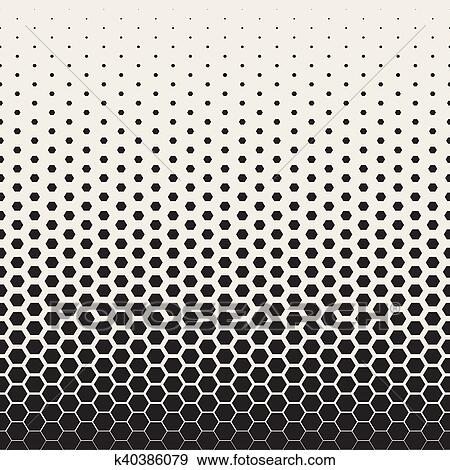 Clip Art Of Vector Seamless Black And White Transition Halftone