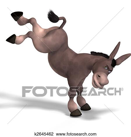 Clip Art of very cute toon donkey k2645462 - Search ...