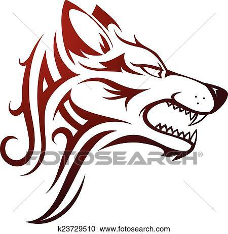 オオカミの頭部 入れ墨 クリップアート切り張りイラスト絵画集