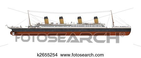Drawings Of Big Ship Liner Side View K2655254