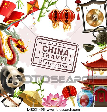 Clip Art of China Travel Frame Background k48021496 - Search Clipart ...