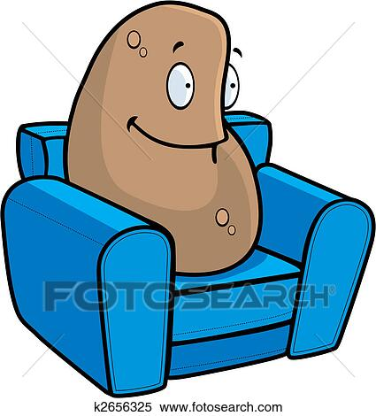 clipart of couch potato k2656325 search clip art illustration rh fotosearch com Cartoon Potato Potato Chips Clip Art
