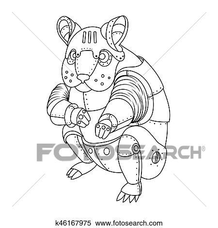 Dampf Punker Hamster Ausmalbilder Vektor Clipart