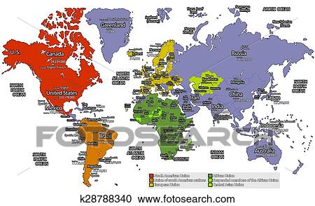 Different Colors of World Map Clipart