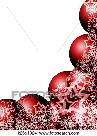 elegant christmas corner with red balls and lacy stars over blank white background - Elegant Christmas