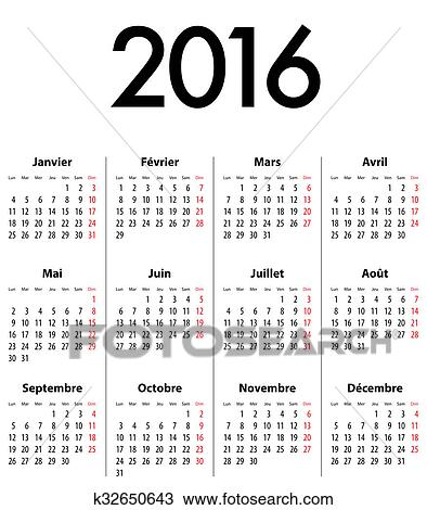 French Calendar Grid For 2016 Mondays First Drawing K32650643
