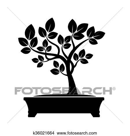 Green Vector Olive Tree Illustration Of Bonsai Clipart K36021664
