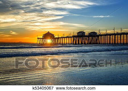 Huntington Beach Pier At Sunset Stock Photo K53405067 Fotosearch