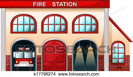 Clipart a caserne pompiers b timent k17796274 - Dessin caserne pompier ...