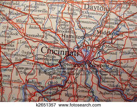 Foto Mapa De Cincinnati Ohio K2651357 Buscar Fotos E Imagenes