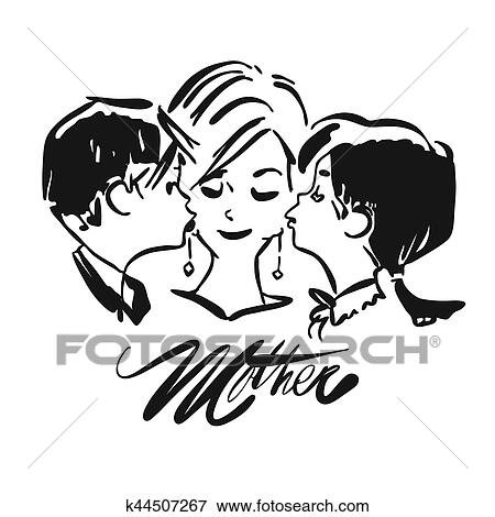 Clip Art Of Mothers Day Kids Kiss Mother K44507267