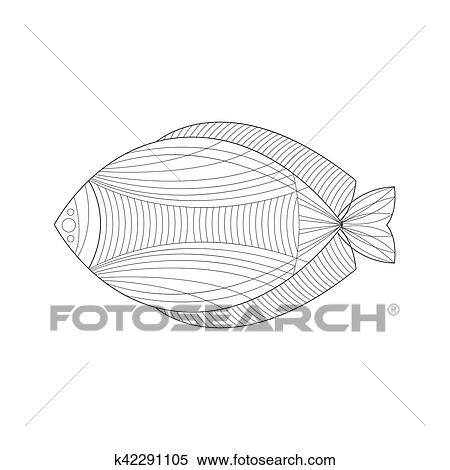 Salzwasser Fische Meer Unterwasserwelt Natur Ausgewachsene Schwarz Weiß Zentangle Ausmalbilder Abbildung Clipart