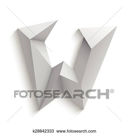 Clipart Of Vector Illustration Of 3d Letter W On White Background