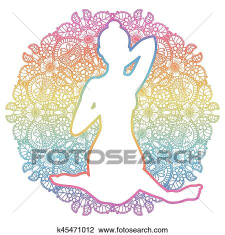 women silhouette cow face yoga pose gomukhasana clipart