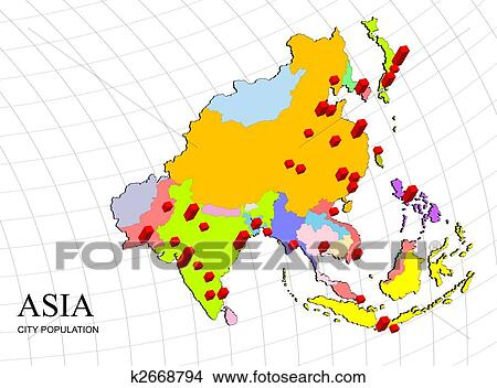 Map Of Asia 3d.Asia 3d Map With Population Stock Illustration