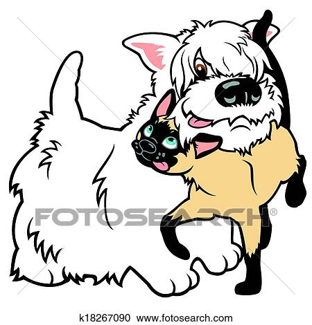 Cartoon Dog And Cat Clipart K18267090 Fotosearch