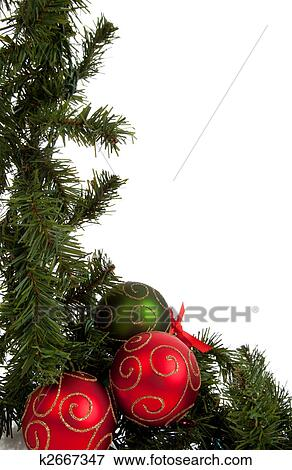Christmas Garland With Red And Green Ornaments Picture