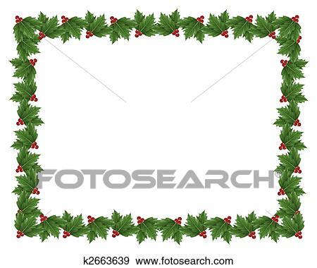 stock illustration of christmas holly border illustration. Black Bedroom Furniture Sets. Home Design Ideas