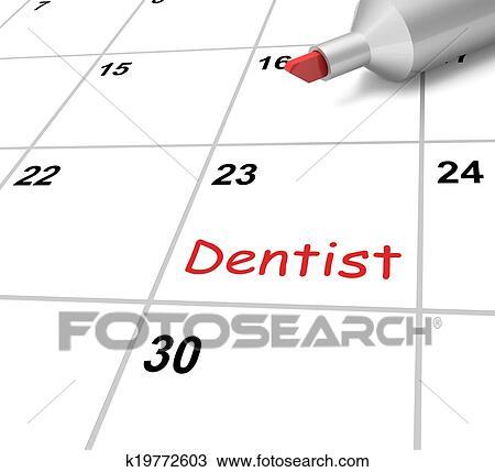 Calendario Significato.Dentista Calendario Mezzi Dentale E Denti Controllo Disegno