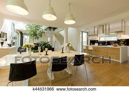 Stock Afbeeldingen - eetkamer, met, witte, tafel, en, black, stoelen ...