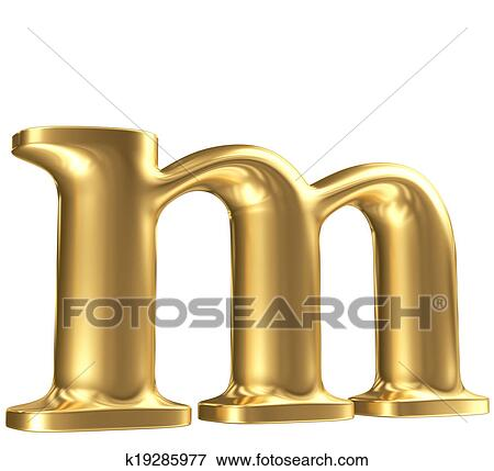 golden matt lowercase letter m in perspective jewellery font collection