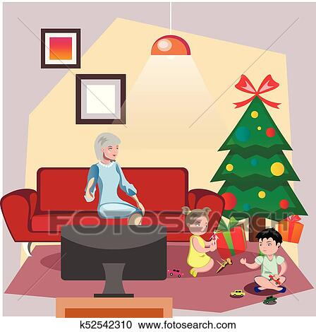 Christmas Giving Clipart.Grandparents Giving Gift Christmas Their Grandchildren Clipart