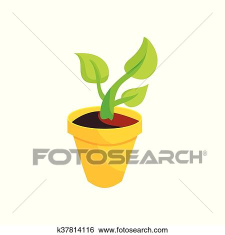 Green Plant In A Yellow Pot Icon Cartoon Style Clip Art