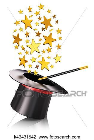 Magia, sombrero, y, varita mágica, con, oro, estrellas Dibujo ...