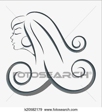 Clip Art Of Outline Girl Curly Hair Cut Out K20582179 Search