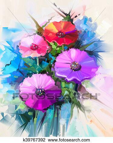 Peinture Huile Nature Morte De Jaune Et Rouges Gerbera Pâquerette Fleur Dessin