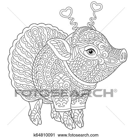 Pig coloring page Clipart | k64810091 | Fotosearch