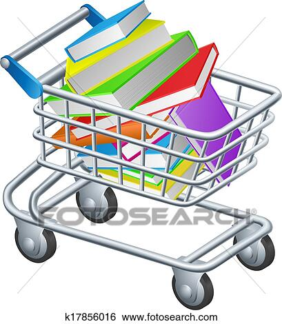 clip art of shopping trolley books k17856016 search clipart rh fotosearch com shopping cart clipart animation free shopping cart clipart png