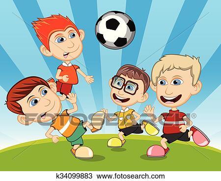 Bambini giocando calcio parco clipart k fotosearch