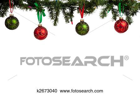 a christmas ornament border with red and green glittered baubles hanging from garland with red and green ribbon - Hanging Garland Christmas Decorations