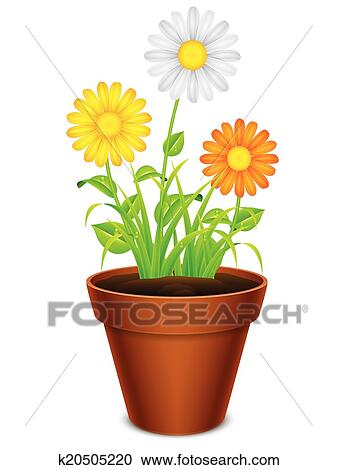 Clipart Of Flowers In A Pot K20505220 Search Clip Art