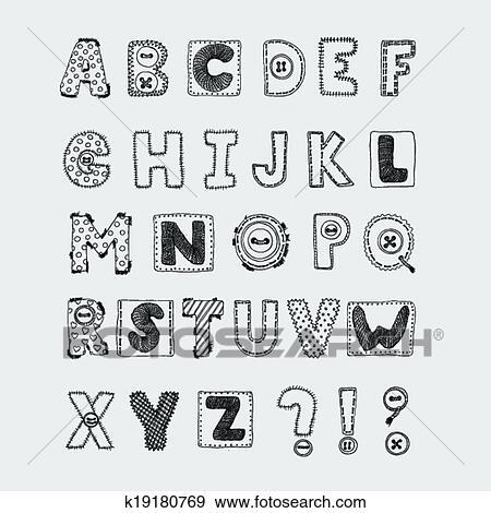Hand Drawn Scrapbook Alphabet Handwritten Font Vector Illustration