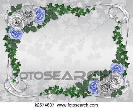 Stock Illustration Of Wedding Invitation Border Blue Rose K2674637