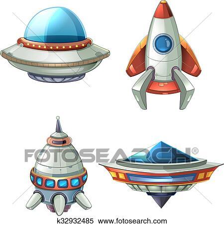 宇宙船 そして Ufo ベクトル セット 中に 漫画 スタイル クリップ