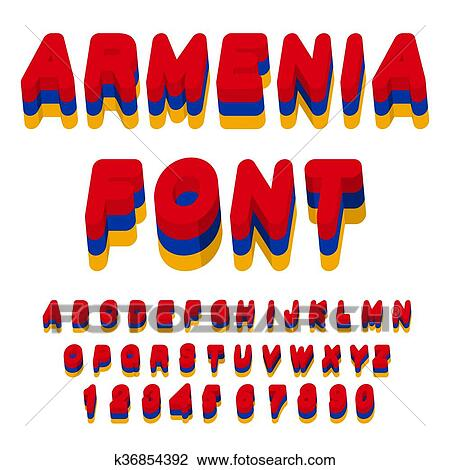 Clipart - Armenia font. Armenian flag on letters. National Patriotic alphabet. 3d letter