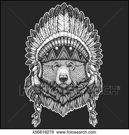 42d769ebe4077 Big wild grizzly bear Cool animal wearing native american indian headdress  with feathers Boho chic style Hand drawn image for tattoo, emblem, badge,  logo, ...