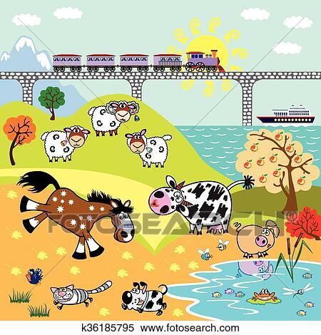 Children illustration farm animals Clipart