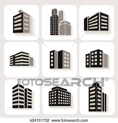 Clipart - conjunto, de, dimensional, edificios, iconos, en, gris, y ...