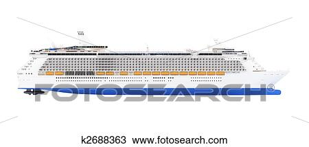 Drawing Of Cruise Ship Isolated Side View K2688363