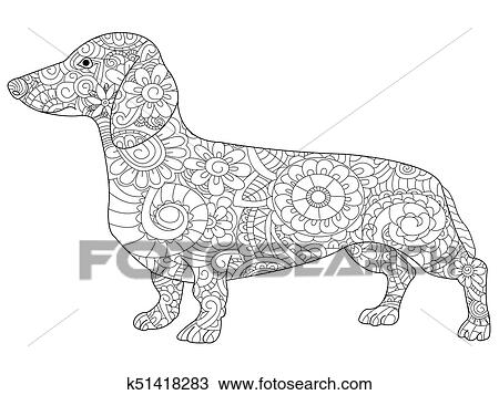 Dachshund Coloring Book For Adults Raster Illustration Anti Stress Adult Dog Zentangle Style Nature Pet Black And White Lines Symbol Guard