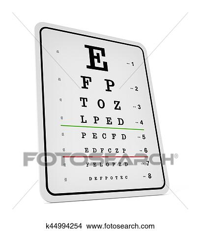 Drawings Of Eye Test Chart Isolated On White Background 3d